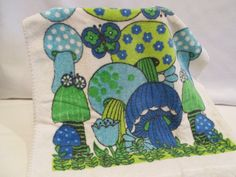 Vintage Groovy Blue and Green Mushroom Terry Cloth Kitchen Towel by EdnasVintageKitchen on Etsy https://www.etsy.com/listing/201468939/vintage-groovy-blue-and-green-mushroom