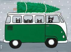 Green VW Bus Christmas Cats Original Folk Art Painting by KilkennycatArt Folk Art Acrylic Paint, Combi Ww, Bus Art, Vw Vintage, Christmas Tree Painting, Photo Chat, Comic, Christmas Cats, Christmas Clipart