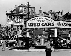 Andreas Feininger, Used car lot, Seventh Avenue, New York, 1940. Gelatin silver print, courtesy George Eastman House. If 370 is the street number on Seventh Avenue this would have been the SW corner of 31st Street.