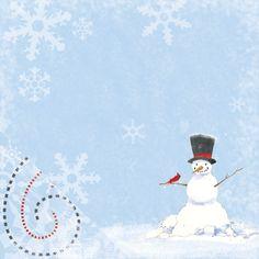 A Jolly #snowman with a #Cardinal #bird #scrapbook paper