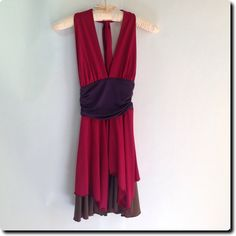 Luis Antonio Red and Brown Halter Dress