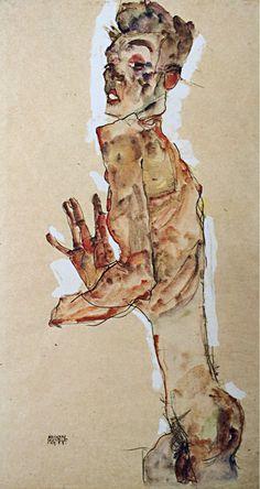 Egon Schiele, Self portrait with splayed fingers.