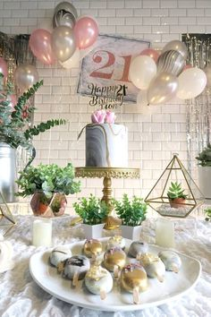 Cake table from an Elegant Marble Inspired 21st Birthday Party on Kara's Party Ideas | KarasPartyIdeas.com (5) #karaspartyideas #21stbirthday #marbleparty