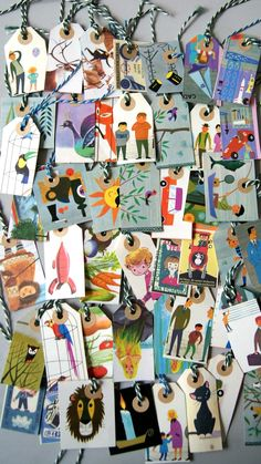 gift tags from vintage children's books...pinned from Art of the Soul Studio. Link is in German
