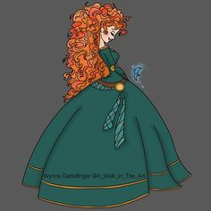 Merida [feat. Will O' The Wisp] (Drawing by A_Walk_In_The_Art @Instagram) #Brave