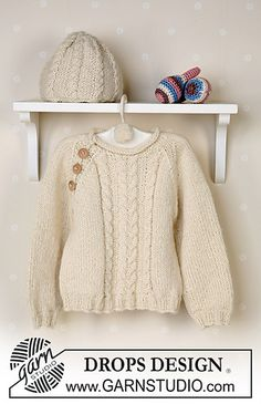 Baby Knitting Patterns Jumper Sweater and cap in Alpaca (Ball and baby rattle Free instructions from … Baby Knitting Patterns, Baby Cardigan Knitting Pattern, Knitting For Kids, Knitting Designs, Free Knitting, Drops Baby, Drops Design, Knit Baby Sweaters, How To Purl Knit