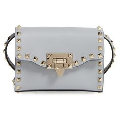 Women's Valentino Small Rockstud Leather Shoulder Bag ($995) ❤ liked on Polyvore featuring bags, handbags, shoulder bags, pastel grey, grey handbags, valentino handbags, grey leather purse, gray handbags and valentino purses
