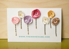 Pastel Flower Hair Accessory Bobby pins by Thenshemade on Etsy
