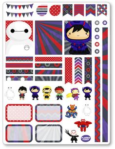 Robot Heroes Decorating Kit / Weekly Spread Planner Stickers for Erin Condren Planner, Filofax, Plum Paper