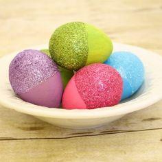 Glitter-Dipped Easter Eggs  - DIY Easter egg decorating.