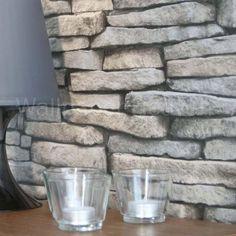 Keswick Slate' Realistic Slate Effect Wallpaper, Natural Grey Beige and Black Colour (Sample)
