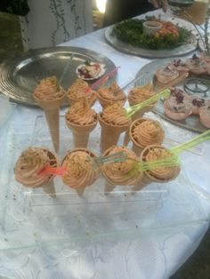 Divine smoked-salmon 'cornetti' presented just like ice-cream, at Milly and Tarquin's wedding in Tuscany.