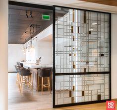 Artglas glas in lood - Schuifdeur glas in lood Voka - Hoog ■ Exclusieve woon- en tuin inspiratie.