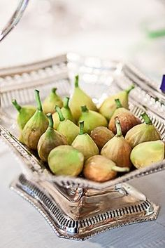 Vintage sterling silver basket with fresh figs - simple and elegant
