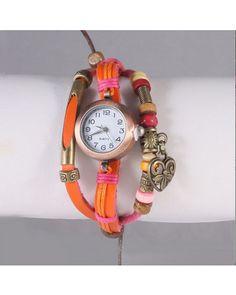 Medley Multi Strand Charm Watch - Orange