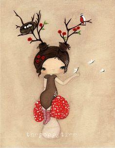 Poppy Print Whimsical Tree Girl Mushroom Wall door thepoppytree