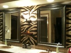 Zebra Wall, Hand painted one afternoon on my day off., Bathrooms Design