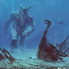 New illustration/concept art, from the upcoming video game inspired by my paintings.  My favorite Ice Giant and his underwater adventures :P  *edit: I'm proud and happy to announce, that together with Polish company Immersion, which is one of the pioneers on the VR market, we are working on super awesome game: 'The Ancients', based on my paintings :) more info coming soon, stay tuned!