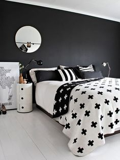 Sweet Paul Giveaway: Pia Wallen Cross Blanket from Story North White Bedroom Decor, Accent Wall Bedroom, Bedroom Black, Bedroom Ideas, Master Bedroom, White Wicker Furniture, Black Bedroom Furniture, Black Accent Walls, White Throw Blanket
