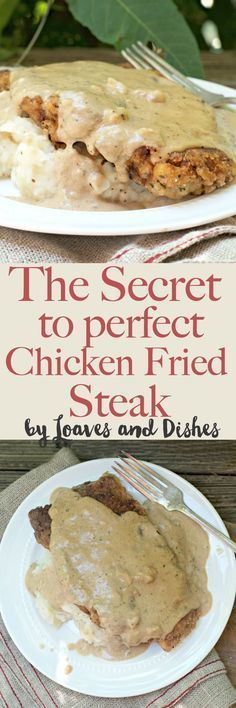 and delicious instructions for how to achieve PERFECT Chicken fried steak. No more breading that slips off. No more clumpy gravy - only hand made fried yum with a side of gravy. This is like something that you would see from Pioneer woman or Paula Deen Cube Steak Recipes, Pork Recipes, Chicken Recipes, Cooking Recipes, Cake Recipes, Cuban Recipes, Copycat Recipes, Dinner Recipes, Gourmet