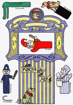 Gamesboard: Punch and Judy playset How To Make Punch, Minis, Victorian Toys, Puppets For Kids, Punch And Judy, Toy Theatre, Puppet Crafts, Dollhouse Toys, Kids Cards