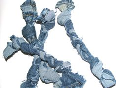 Dog toy Tug Toy Set of 3 Recycled Jean Material Small to Medium Dogs Rope Toy~~I can make these!