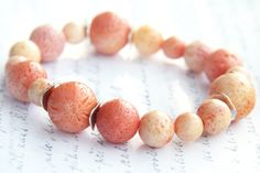 Gift for Her Jewelry Bracelet Cream Peach Pink by KapKaDesign, $58.00