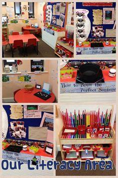 Our Literacy Area Eyfs Classroom, Classroom Layout, Classroom Organisation, Classroom Setting, Classroom Ideas, Organization Ideas, Writing Area, Writing Station, Math Writing