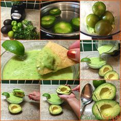We call it Shrek Salsa! You'll call it Delicious! Tomatillo Avocado Salsa by Cinfully Simple + How To Video! Mexican Salsa Recipes, Mexican Dishes, Healthy Eating Recipes, Healthy Snacks, Cooking Recipes, Verde Recipe, Mexican Cooking, Food N, Food To Make