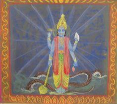 Waldorf ~ 5th grade ~ Ancient India ~ Vishnu ~ chalkboard drawing