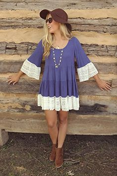 Bohemian Flare Sleeve Lace Splice Loose Tunic Dress on Amazon, $15.99 #lace #dress #blue #violet #periwinkle #country #spring #summer #amazon #affiliate #boho