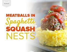 Meatballs in Spaghetti Squash Nests