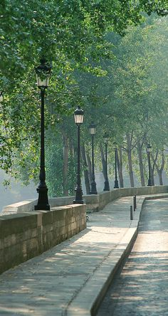 European photo of walkway with trees and streetlamps on the Ile St. Louis in Paris,France by Dennis Barloga | Photos of Europe: Fine Art Photographs by Dennis Barloga