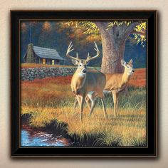 """Click here for """"Whitetail Morning"""" personalized art for the ourdoorsman by artist Scott Kennedy. Your personalized names 'carved' into the heart on the tree. http://www.personal-prints.com/Whitetail-Morning--Personalized-art-by-Scott-Kennedy_p_718.html#.U5is45RdVQo $119.00"""
