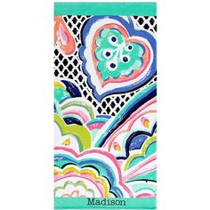 PB Teen Madison Beach Towel at Pottery Barn Teen ($19) ❤ liked on Polyvore featuring home, bed & bath, bath, beach towels, personalized beach towels, pbteen and tropical beach towels