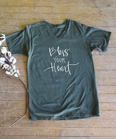 Look at this #zulilyfind! City Green 'Bless Your Heart' Mitered V-Neck Tee…
