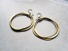 Barbara She Said - Triple Hoop Earrings With Reclaimed Silver  And Brass Hand Forged Studio Artisan Made Bohemian Gypsy Earrings