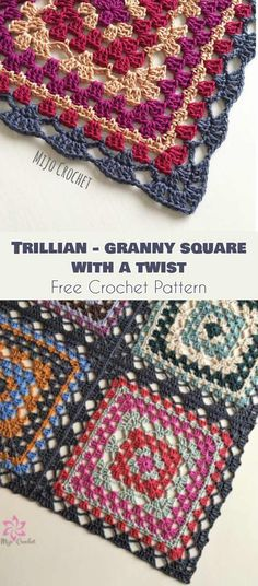 Trillian - Granny Square with a Twist [Free Crochet Pattern] Follow us for ONLY FREE crocheting patterns for Amigurumi, Toys, Afghans and many more!