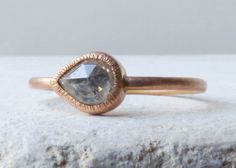 Fairtrade Gold Engagement Ring with a Rose Cut by ShaktiEllenwood