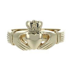 Hand crafted Celtic Claddagh Ring in 14 karat yellow gold made by FireWorks Gallery in Halifax, Nova Scotia, Canada. Gold Claddagh Ring, Signature Design, Nova Scotia, Fireworks, Celtic, Wedding Bands, Canada, Engagement Rings, Gemstones