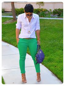 mimi g.: OOTD: Purple Windowpanes + Green Skinny Mini's
