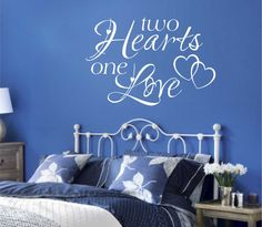 Romantic Vinyl Wall Lettering Quotes Two Hearts One Love