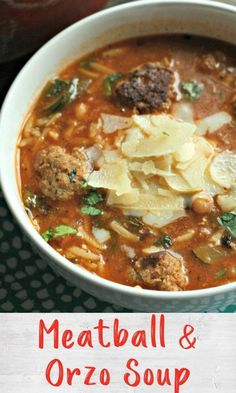 This soup is a take on the classic comfort food Spaghetti Home Recipes, Healthy Recipes, Orzo Soup, Spaghetti And Meatballs, Turkey Meatballs, Chilis, One Pot Meals, Fruits And Veggies, Food Hacks