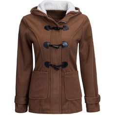 Hooded Single Breasted Patch Pocket Woolen Coat (650 ARS) ❤ liked on Polyvore featuring outerwear, coats, jackets, brown coat, brown wool coat, single-breasted trench coats, wool coat and hooded wool coat
