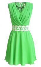 Green V Neck Sleeveless Lace Pleated Chiffon Dress