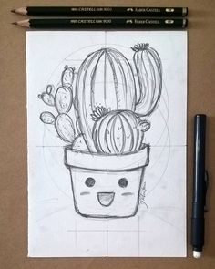 Cactus Drawing, Plant Drawing, Cool Pencil Drawings, Kawaii Drawings, Pencil Drawing Tutorials, Easy Drawings, Pencil Art, Pencil Sketching, Catus