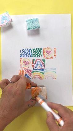 Sellos. Estampar. Tramas. Patron. Ritmo Fun Crafts, Crafts For Kids, Arts And Crafts, Paper Crafts, Kids Diy, Diy Pour Enfants, Art Lessons Elementary, Kids Art Lessons, School Art Projects