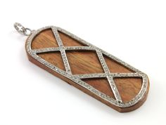 """Pave Diamond Detail on Oval Pendant, Gorgeous Piece w/ Diamond Bail, Appx 2.75"""" Long (DCH/PDT/270) by Beadspoint on Etsy"""