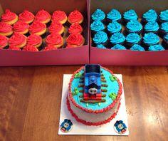 Thomas The Tank Engine Smash Cake and Cupcakes
