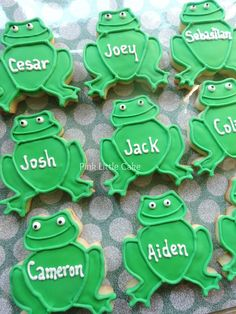 Personalized frogs for a Princess theme party
